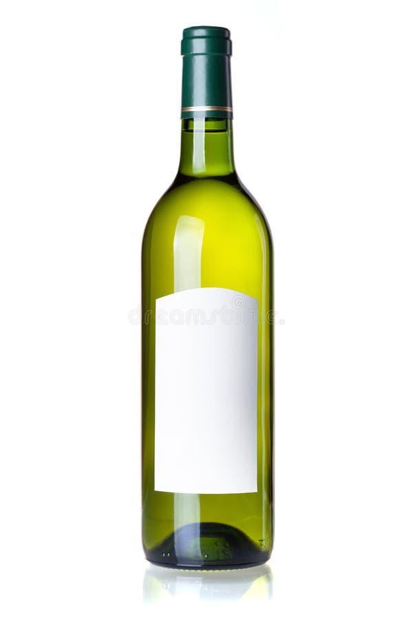 vit wine för blank etikett för flaskgreen arkivbild