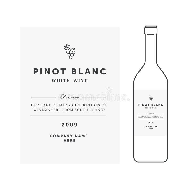 vit wine för etikett Högvärdig mall för vektor Ren och modern design Pinot Blanc druvaslag royaltyfri illustrationer