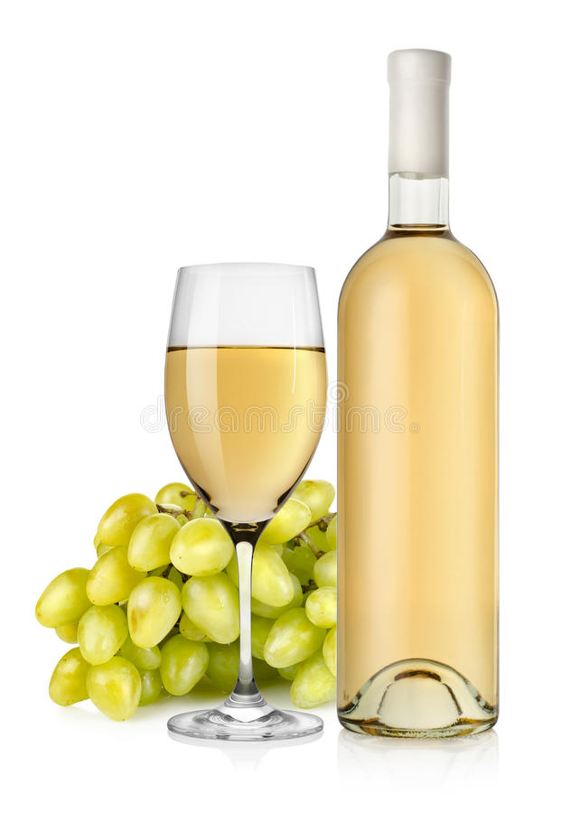 Vit wine och druvor royaltyfri bild
