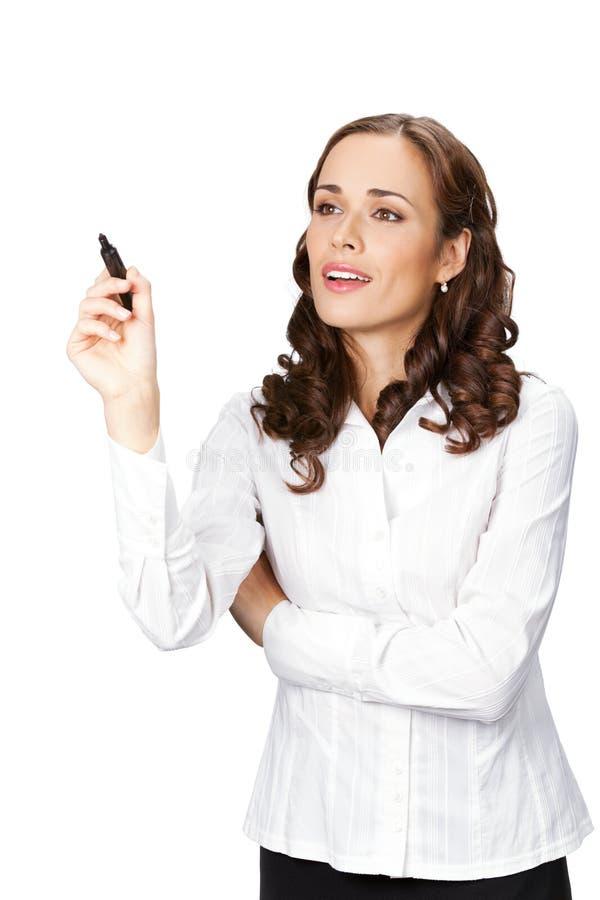 vit writing för affärskvinna royaltyfri foto