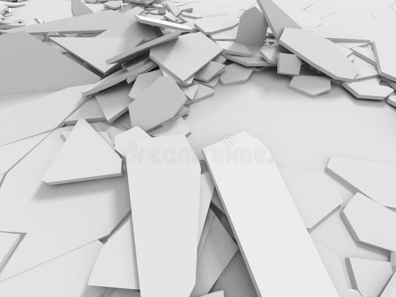 Vit yttersida för abstrakt förstörelse Kaotisk bruten fragmentbac vektor illustrationer