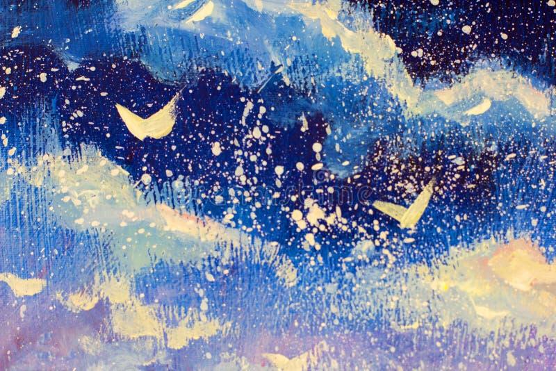 Vita abstraktioner mot bakgrunden av denvioletta himlen för natt Snöa nedgångar, jul, en saga, en dröm- originalolja royaltyfri illustrationer