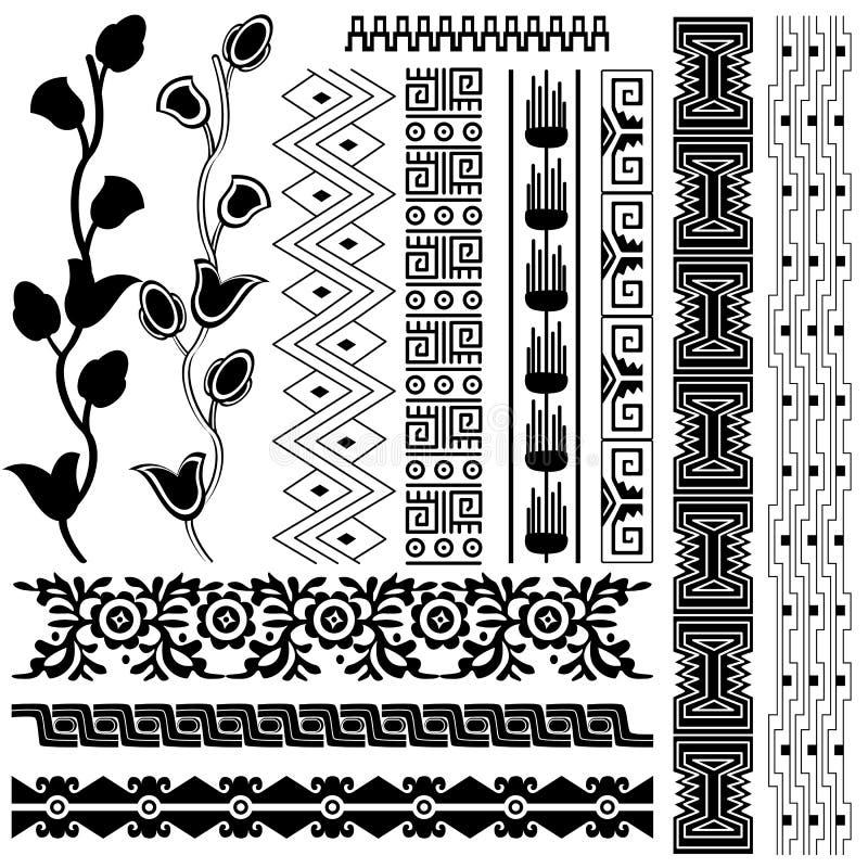 vita Amerika forntida prydnadar vektor illustrationer