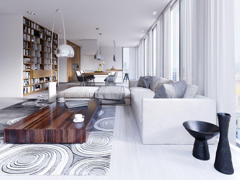 Vita aperta leggera elegante e lussuosa e sala da pranzo con le pareti bianche, i pavimenti di legno luminosi ed i grandi scaffal illustrazione vettoriale