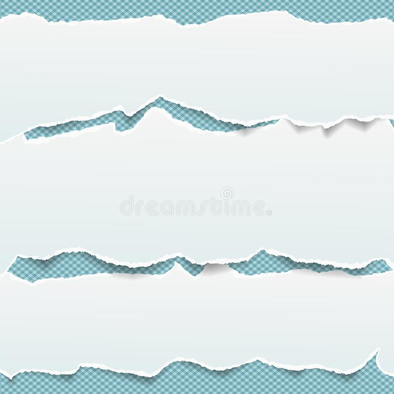Vita avlånga pappers- remsor förlade en över andra med den sönderrivna kanten i horisontalposition på blått kvadrerad bakgrund vektor illustrationer