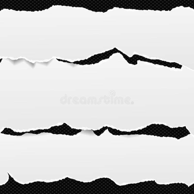 Vita avlånga pappers- remsor förlade en över andra med den sönderrivna kanten i horisontalposition, papper för anmärkning är på s vektor illustrationer