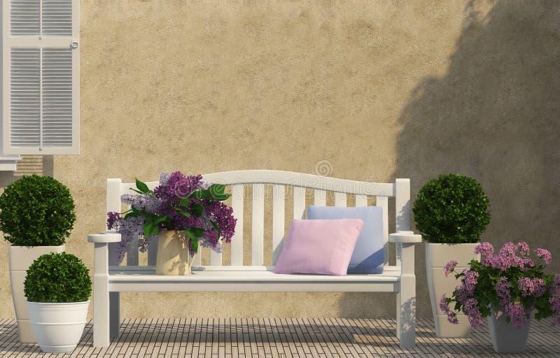 Vita bänk- och lilablommor royaltyfria bilder
