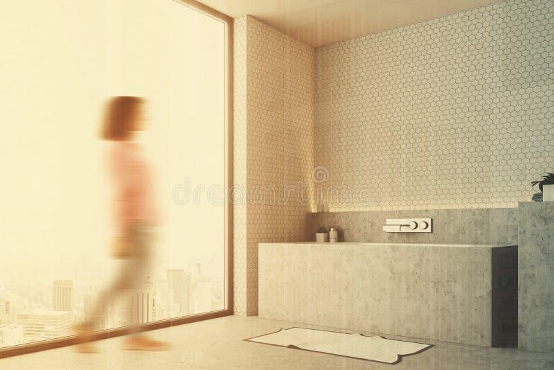Vita badrumgrå färger badar tätt upp sidosuddighet royaltyfri illustrationer