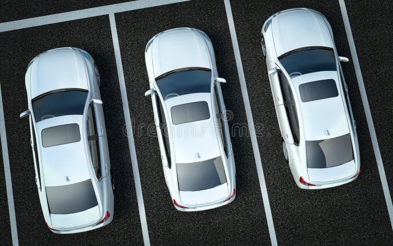 Vita bilar på en p stock illustrationer