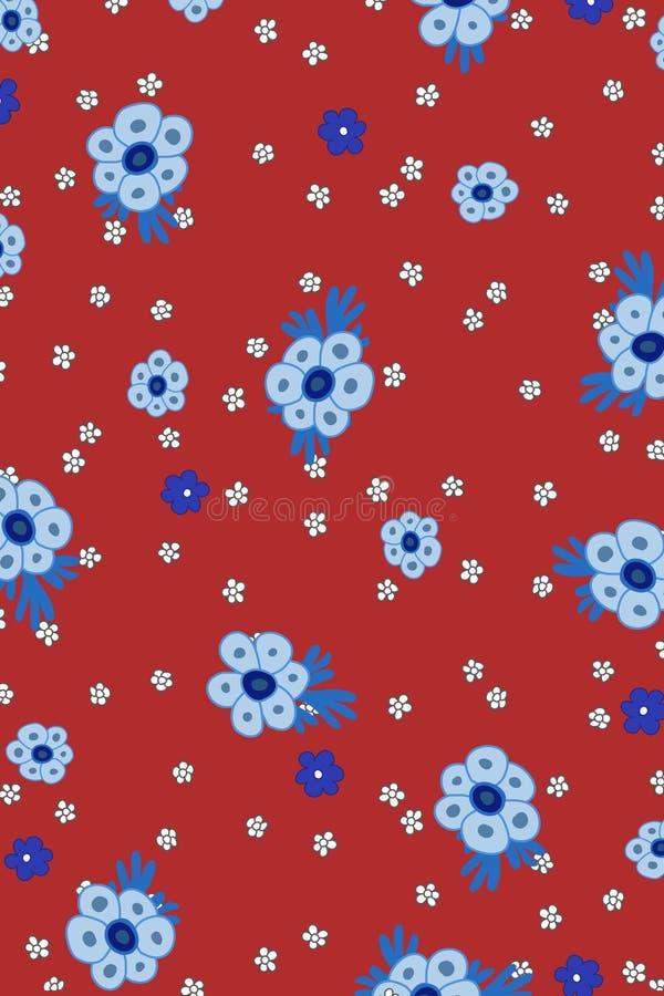 vita blåa blommor stock illustrationer