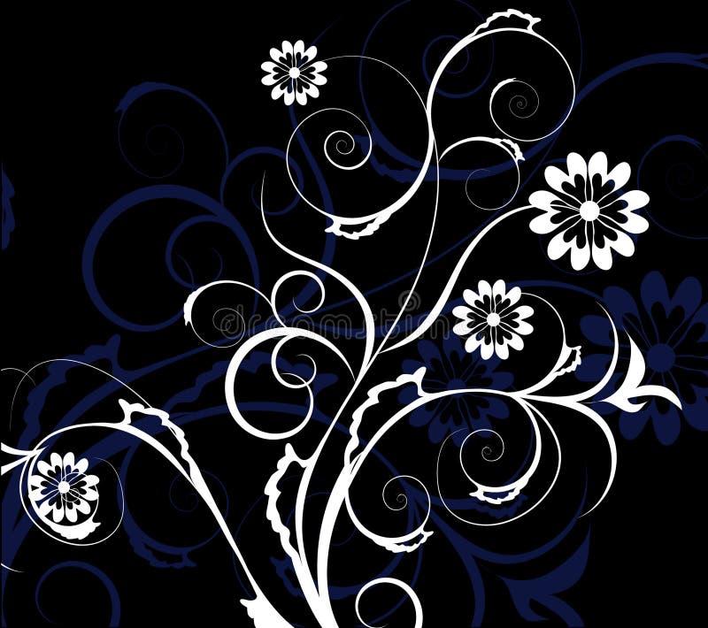 vita blåa dekorativa blommor stock illustrationer