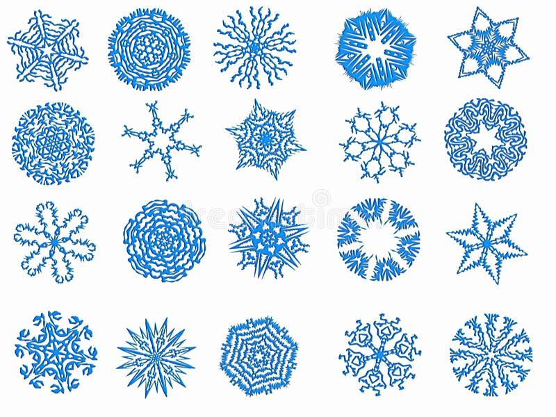 vita blåa snowflakes för bakgrund arkivfoton