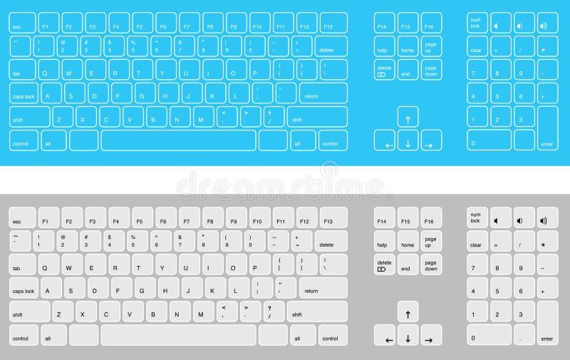 vita blåa tangentbord royaltyfri fotografi