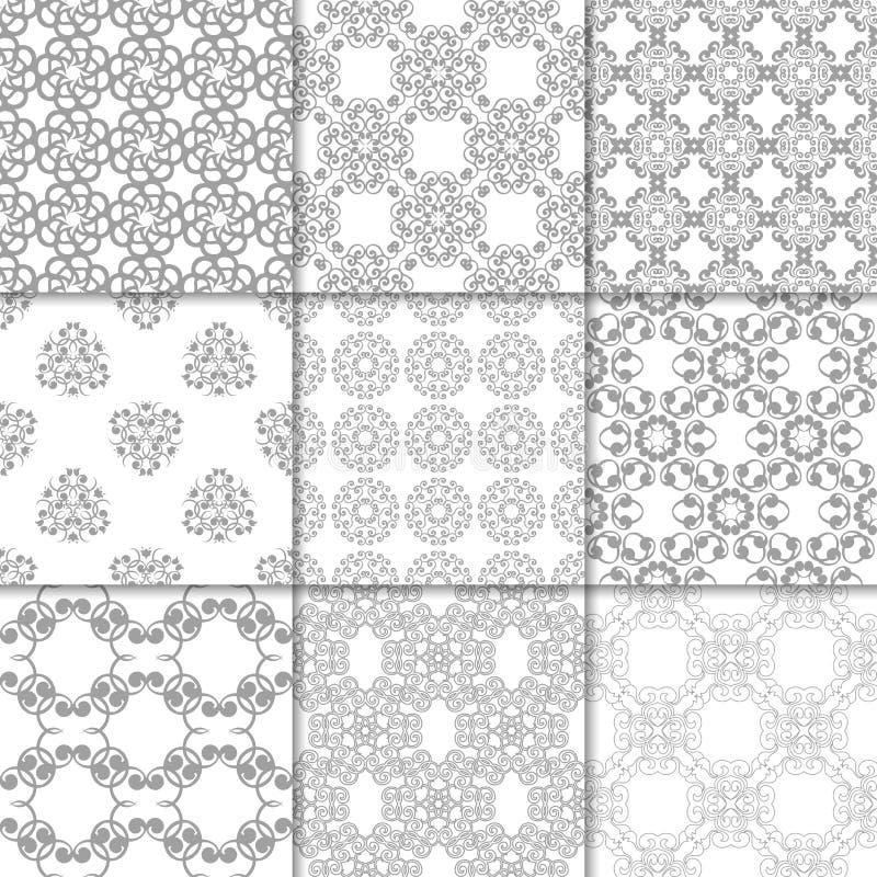 Vita blom- prydnader för grå färger och samlingen mönsan seamless vektor illustrationer