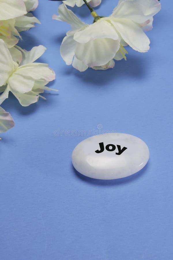 Vita blommor med en sten som visar glädje och stillhet arkivfoto