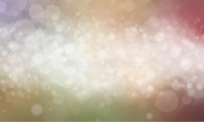 Vita bokehbakgrundsljus med pastellfärgad färg gränsar stock illustrationer