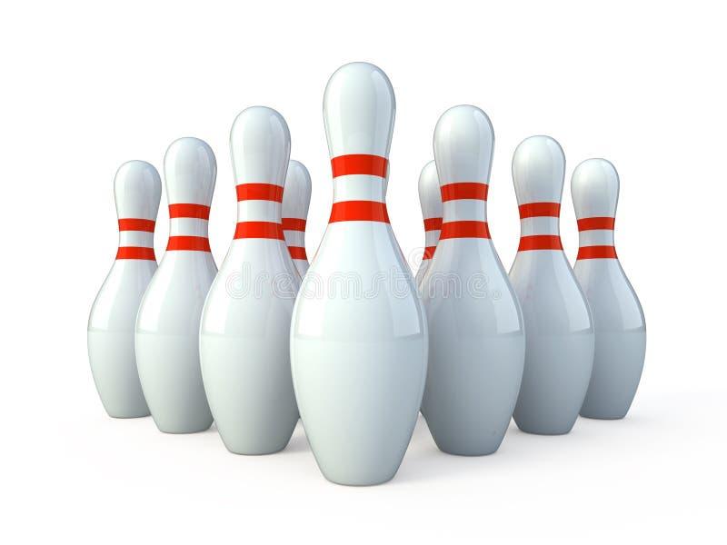 vita bowlingkäglor stock illustrationer