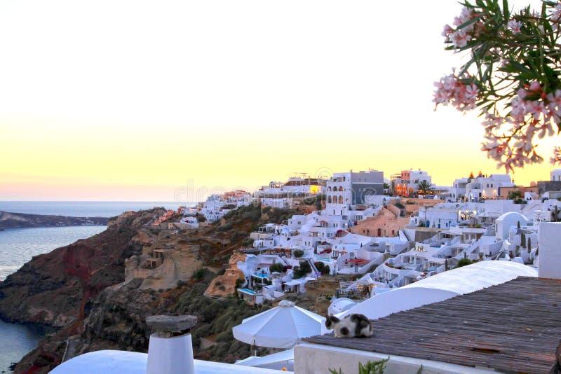 Vita byggnader på klipporna på Oia i Santorini royaltyfria foton