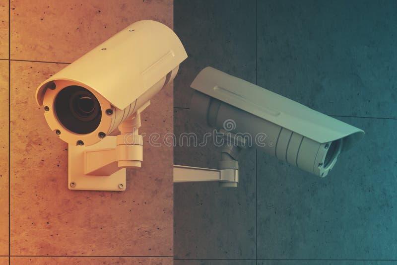 Vita CCTV-kameror på ett grått väggslut som tonas upp stock illustrationer
