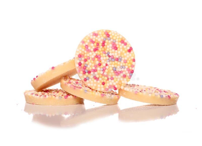 Vita chokladjazzlesötsaker fotografering för bildbyråer