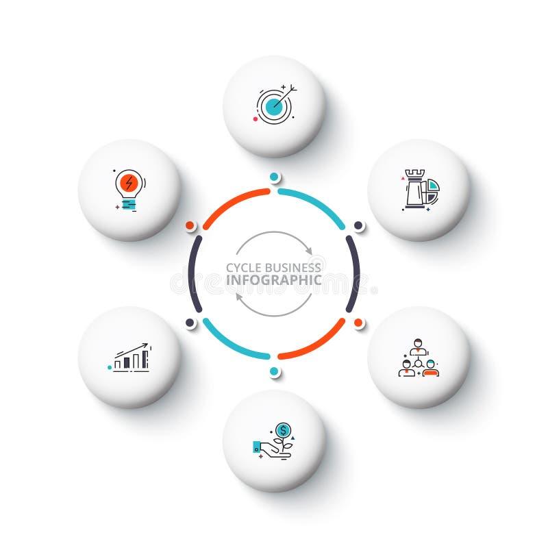 Vita cirkelbeståndsdelar för vektor för infographic Mall för cirkuleringsdiagram, graf, presentation och runt diagram Affär stock illustrationer