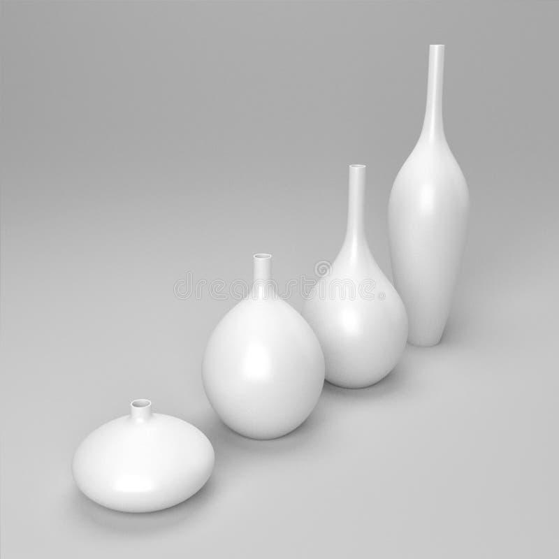 Vita dekorvaser för porslin vektor illustrationer