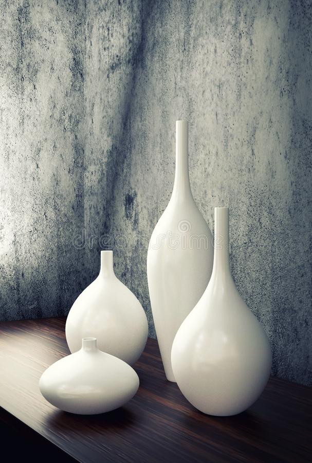Vita dekorvaser för porslin royaltyfri illustrationer