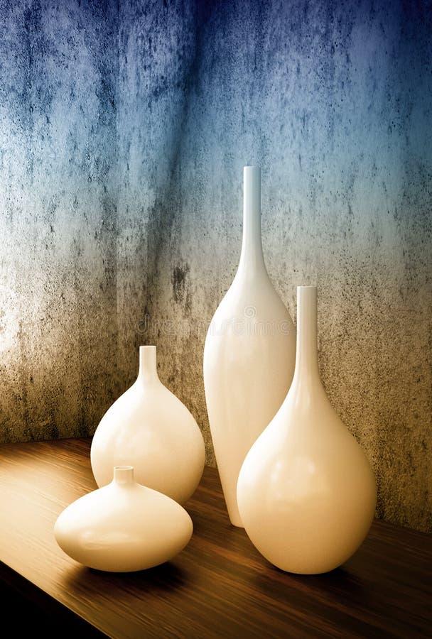 Vita dekorvaser för porslin stock illustrationer