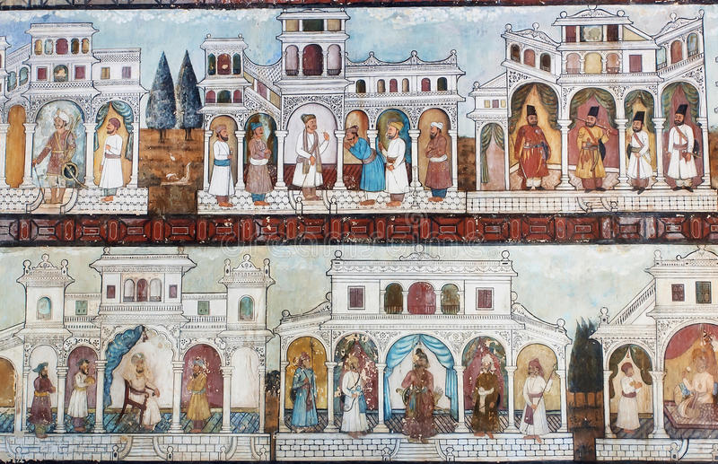 Vita del sultano sugli affreschi della parete di Daria Daulat Palace famosa fotografia stock