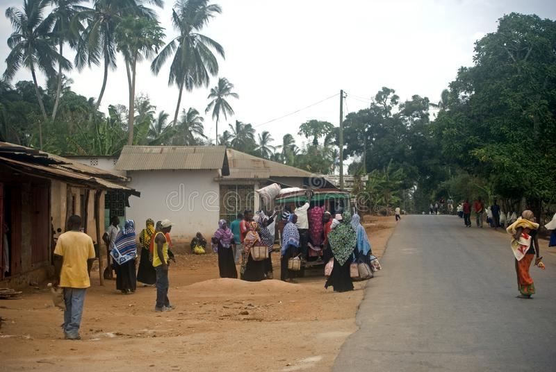 Vita del villaggio, Kinyasini, Zanzibar, Tanzania immagini stock libere da diritti