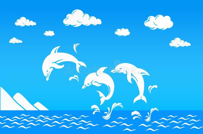 Vita delfin som hoppar över havet stock illustrationer