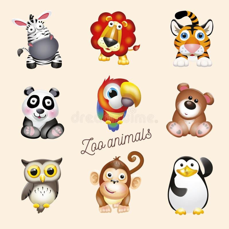 Vita dello zoo Animali dello zoo di divertimento del fumetto messi Illustrazione di vettore, isolata su fondo bianco illustrazione vettoriale