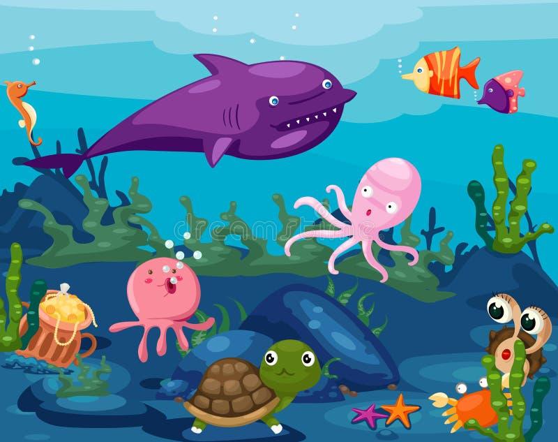 Vita di animali di vista sul mare subacquea illustrazione di stock