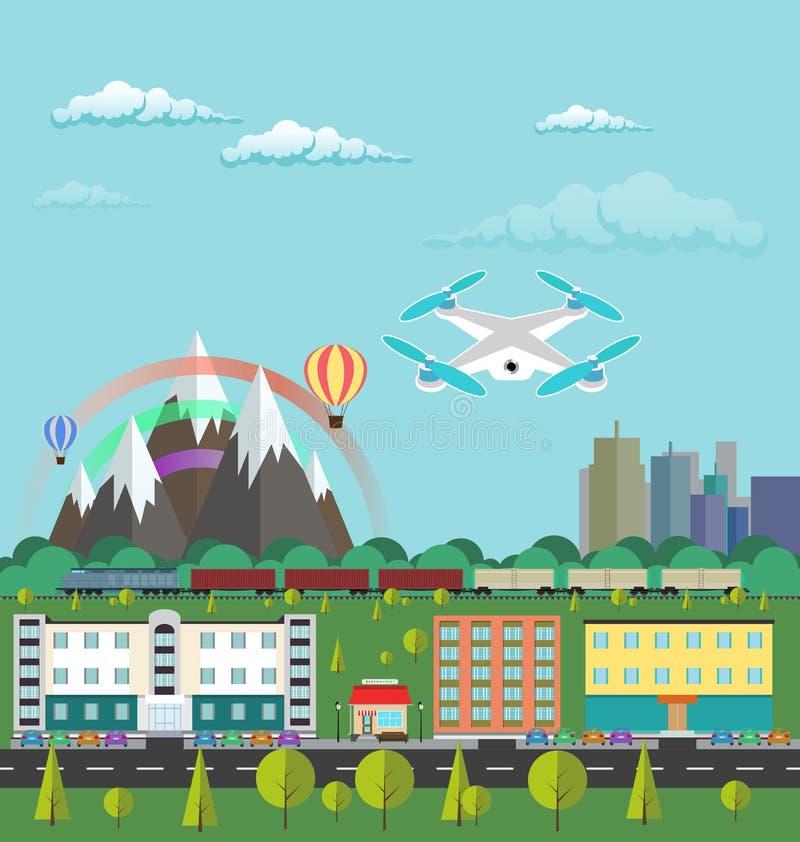Vita di città piana dell'illustrazione di vettore di progettazione e paesaggio urbano Aerei o quadrocopter che sorvolano la città illustrazione vettoriale
