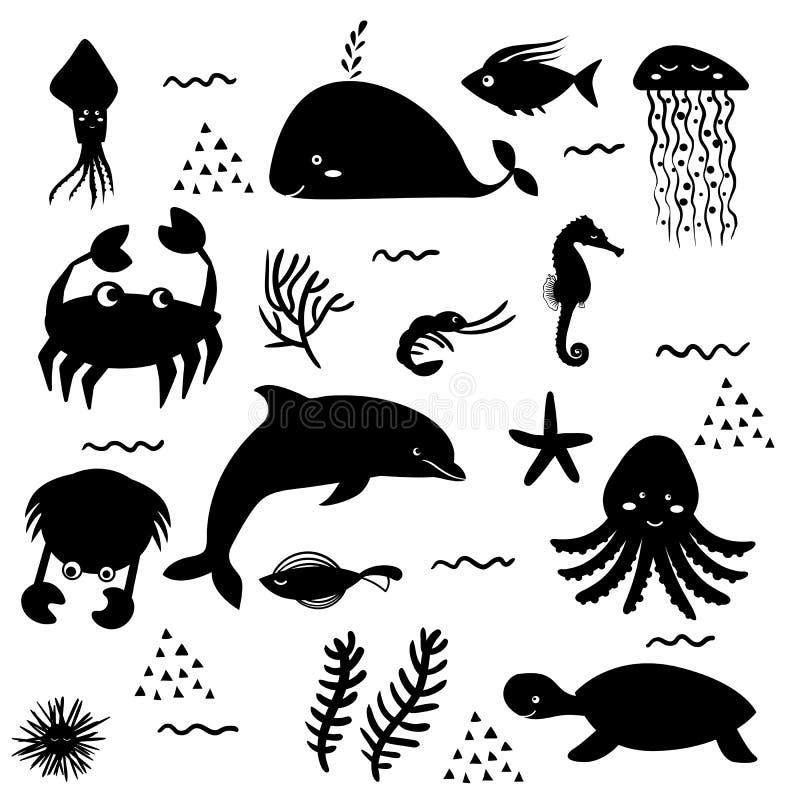 Vita di mare Mondo subacqueo Il pesce, medusa, fondo del mare, stagni spedisce, alghe, tesoro Illustrazioni piane di vettore e illustrazione vettoriale