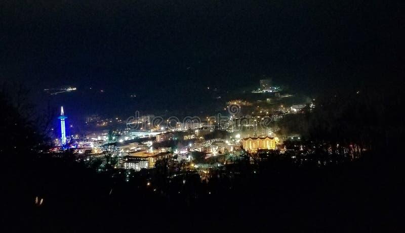 Vita di notte di Gatlinburg fotografia stock
