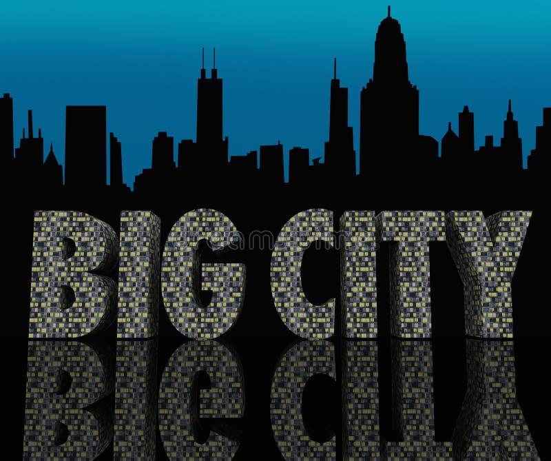Vita di notte urbana dei grandi della città dell'orizzonte grattacieli di paesaggio urbano royalty illustrazione gratis