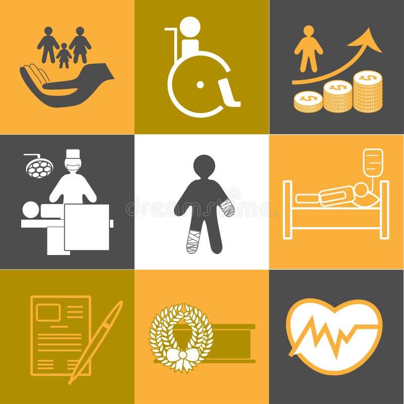 Vita e raccolta sana delle icone di assicurazione illustrazione di stock