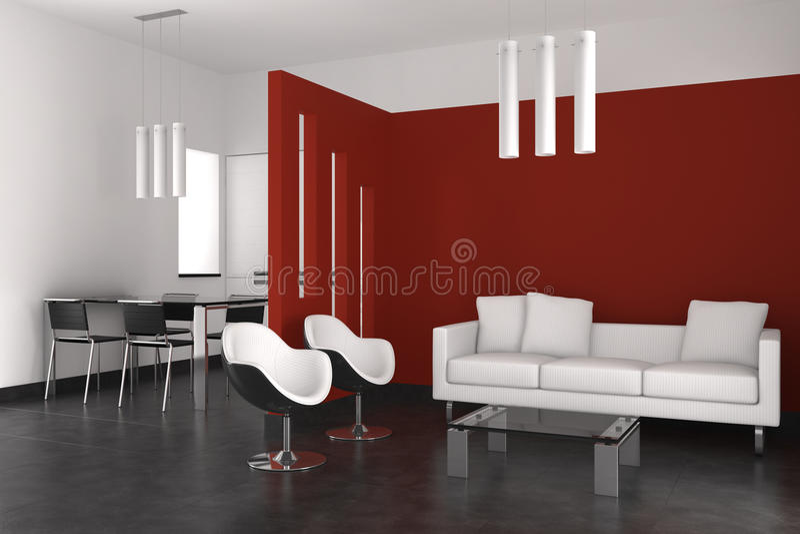 Vita e sala da pranzo moderne con la cucina illustrazione for Sale da pranzo moderne 12
