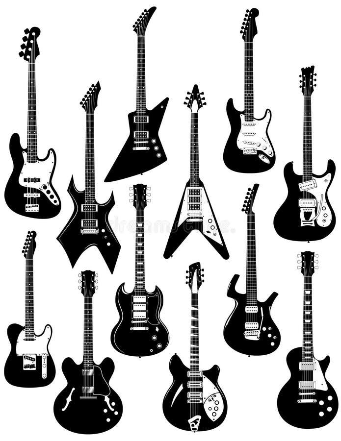 vita elektriska gitarrer stock illustrationer