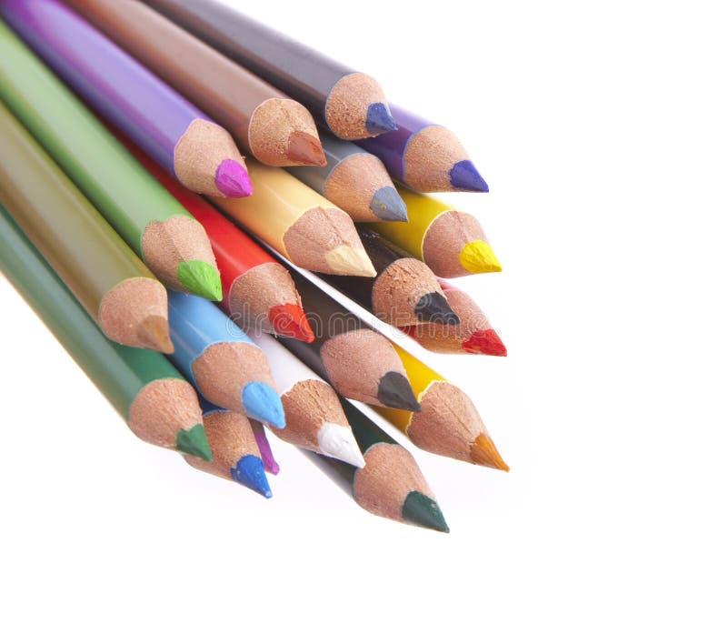 vita färgade blyertspennor för closeup arkivbild