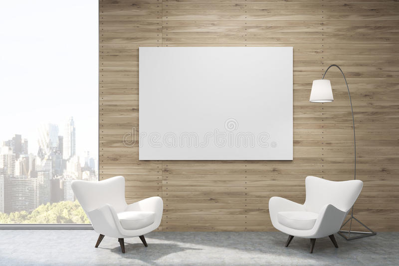 Vita fåtöljer i New York väntande rum stock illustrationer