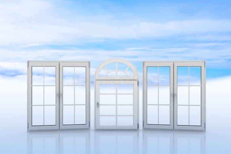 Vita fönster med blå himmel och moln på bakgrund vektor illustrationer