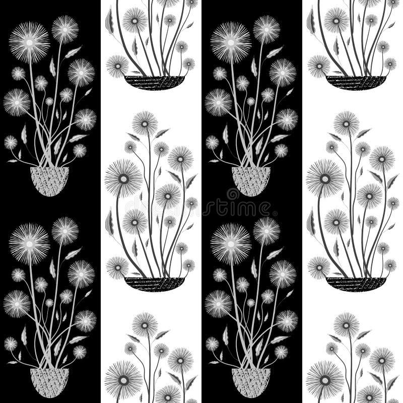 Vita för elegant hand utdragna och svarta blommor i halv droppdesign Sömlös vektormodell på randig bakgrund Utmärkt för vektor illustrationer