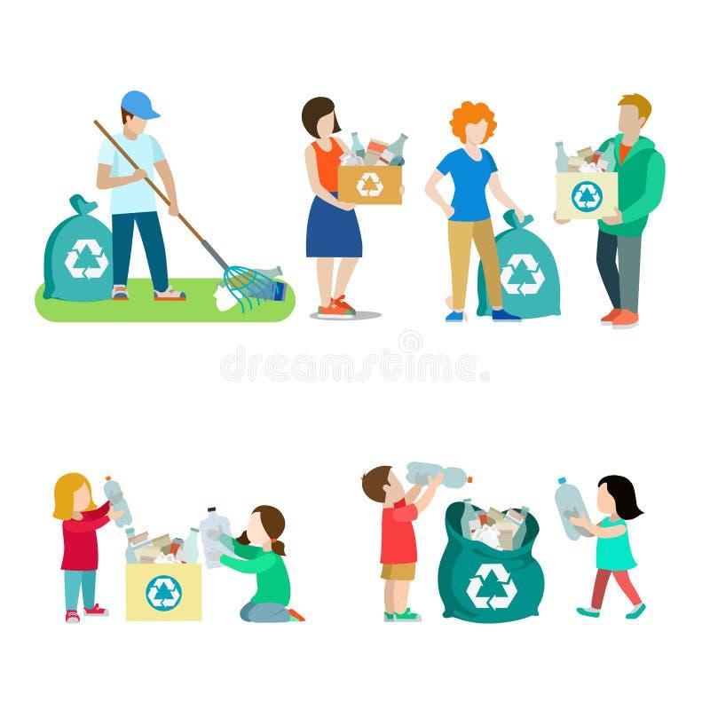 Vita familiare che ricicla l'insieme creativo dell'icona di vettore pe illustrazione di stock
