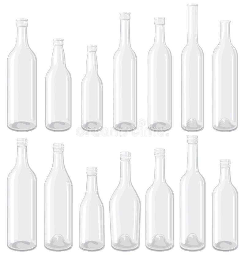 vita flaskor som ställs in stock illustrationer