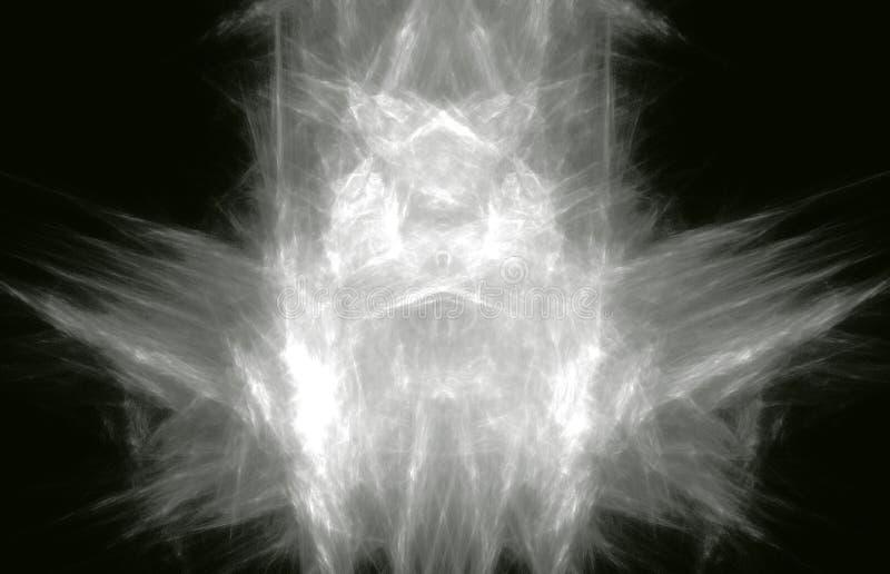 Vita fracatal linjer på svart bakgrund Fantasifractaltextur digital röd twirl för abstactkonst djupt framförande 3d dator frambra vektor illustrationer