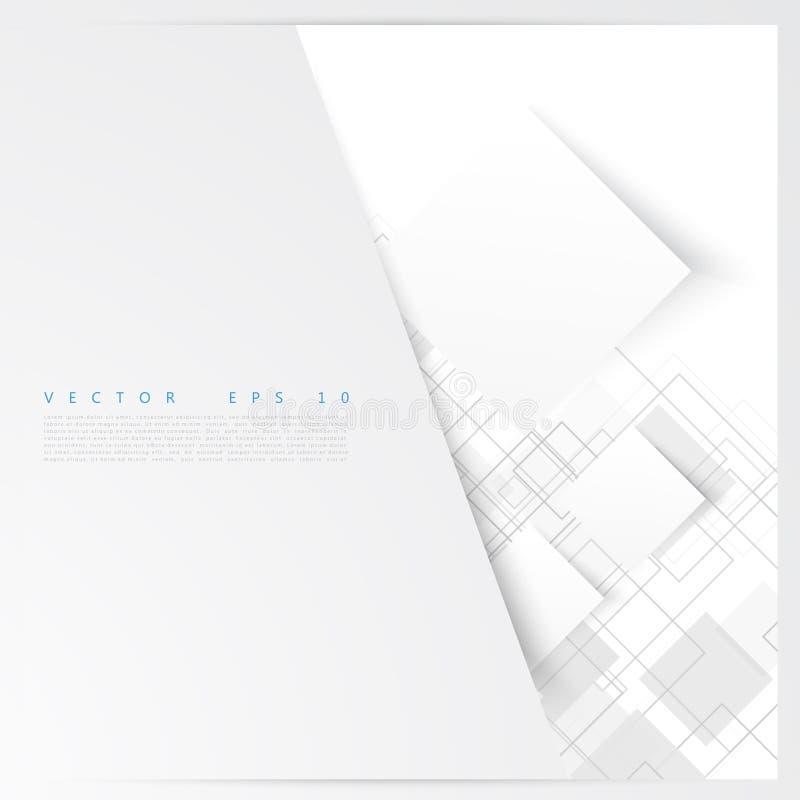 Vita fyrkanter för vektor abstrakt bakgrund stock illustrationer