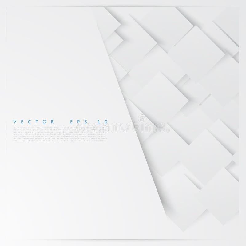 Vita fyrkanter för vektor abstrakt bakgrund royaltyfri illustrationer