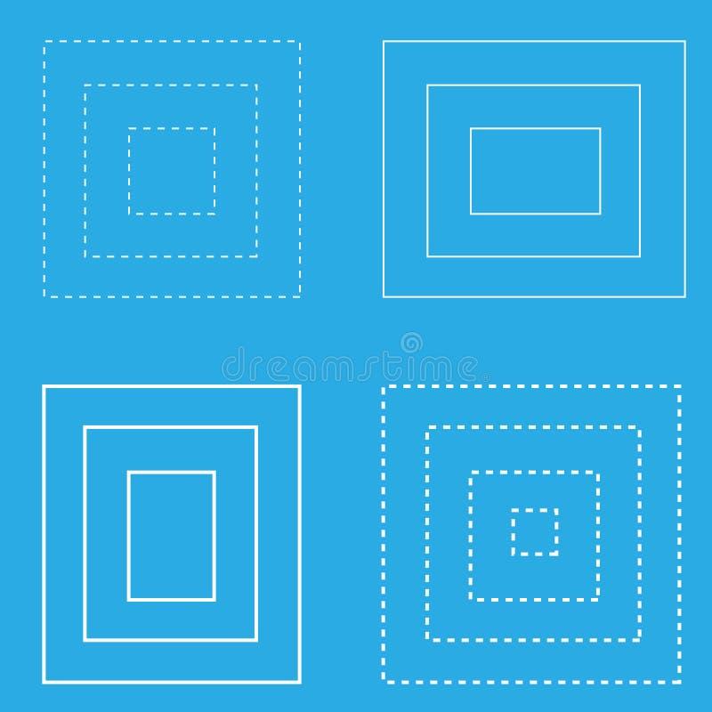 Vita fyrkantiga geometriska formlinjer för blå bakgrund vektor illustrationer